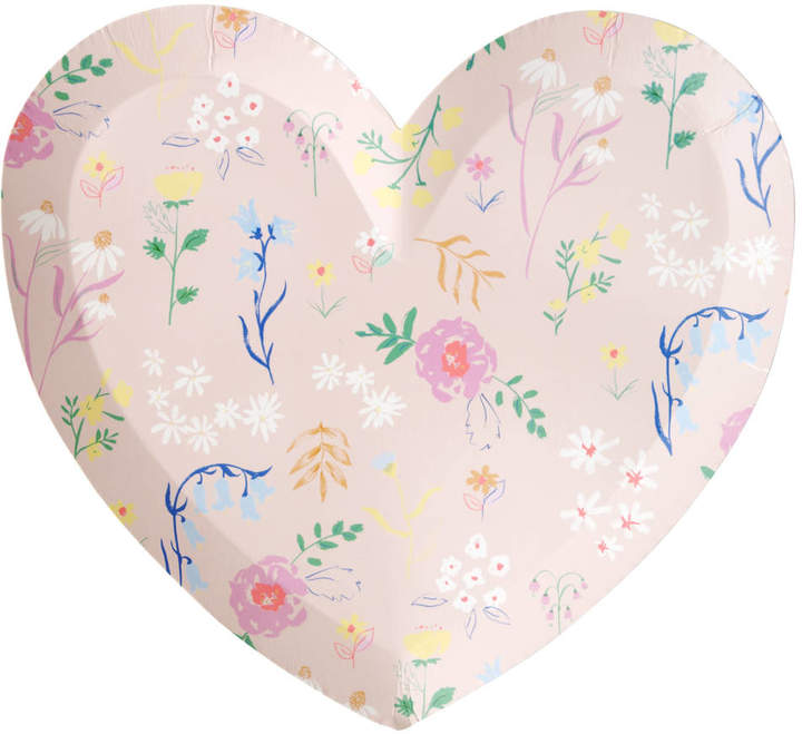 Peach Blossom Floral Heart Paper Party Plates