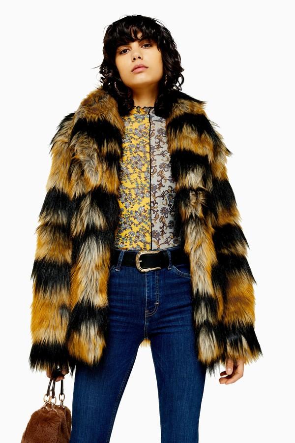Topshop Womens Tiger Faux Fur Coat - Multi