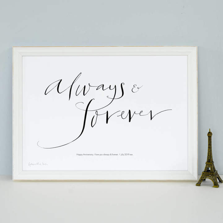 Gabrielle Izen Design Personalised Celebration Print 'Always And Forever'