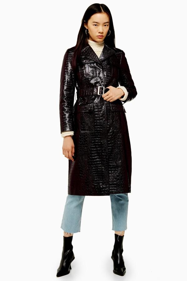 Topshop Womens Burgundy Faux Crocodile Vinyl Coat - Burgundy