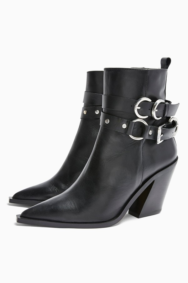 Topshop Womens Hadria Leather Black Western Boots - Black