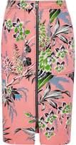 Diane Von Furstenberg Floral-Print Stretch-Cotton Twill Pencil Skirt