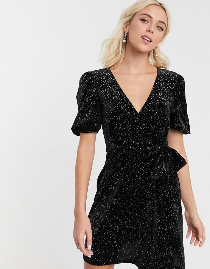 Asos Design ASOS DESIGN glitter velvet mini tea dress