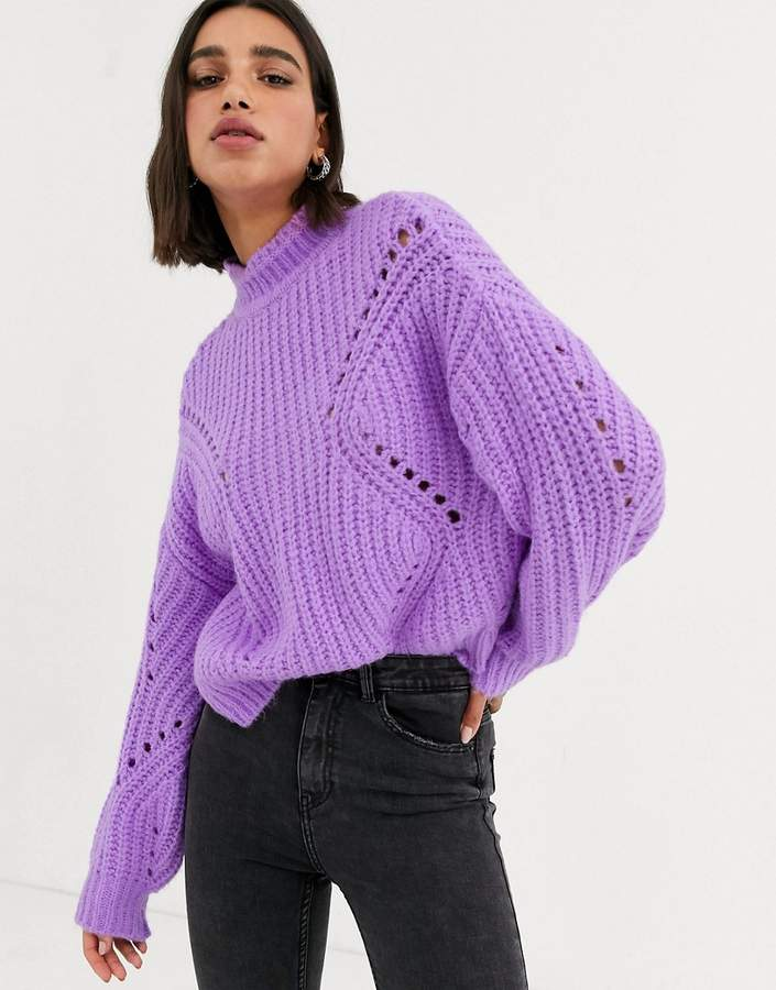 Bershka funnel neck pointelle jumper in purple