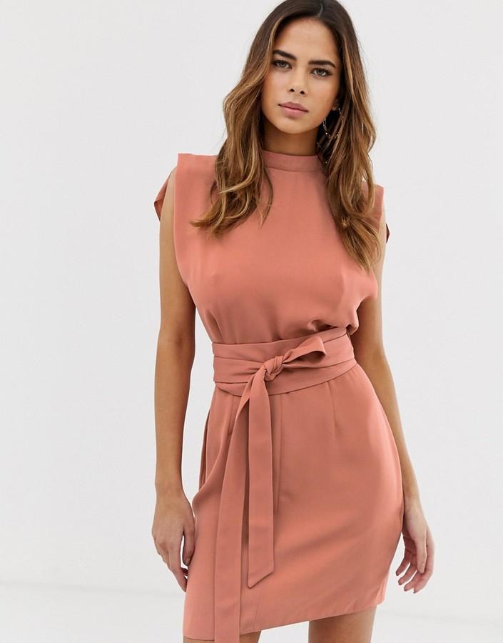 ASOS DESIGN split sleeve mini dress with obi belt in terracotta