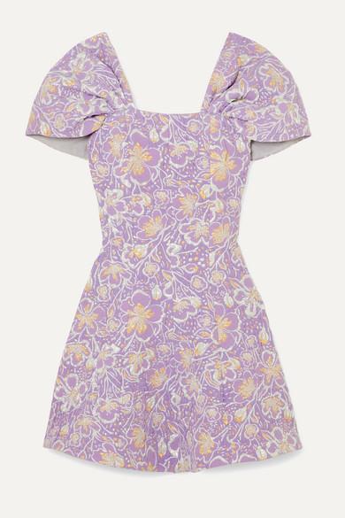 ROTATE Birger Christensen - Petra Off-the-shoulder Floral-jacquard Mini Dress - Lilac