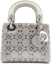 Dior Lady Dior Silver Cloth Handbag
