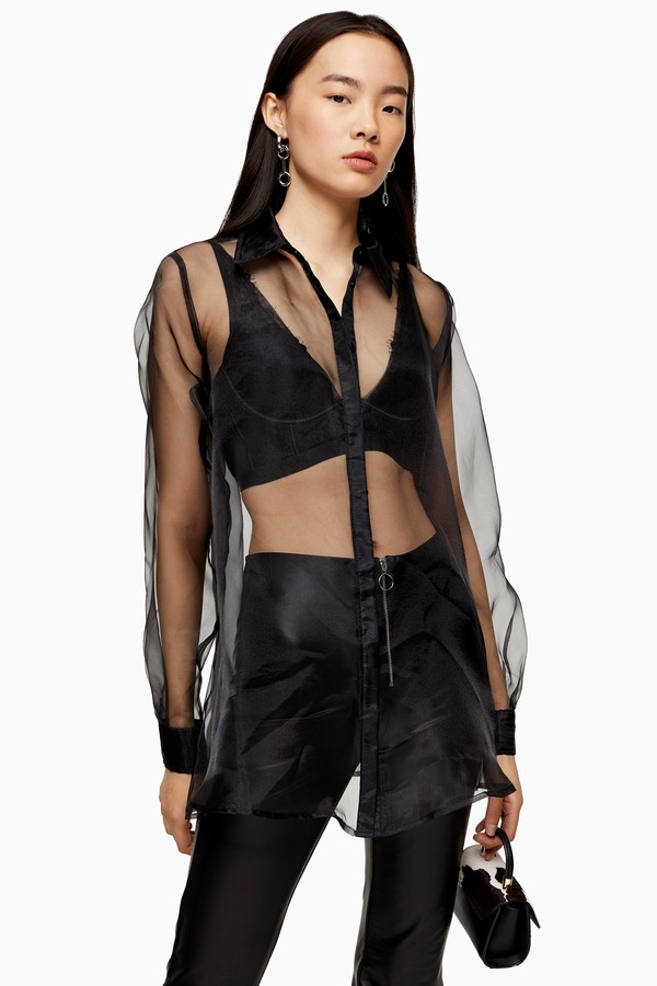 Black Sheer Organza Shirt