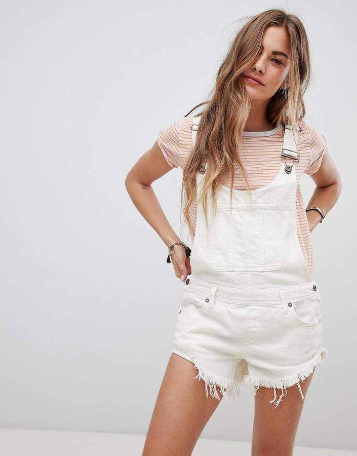 Free People Summer Babe Frayed Hem Denim Dungarees