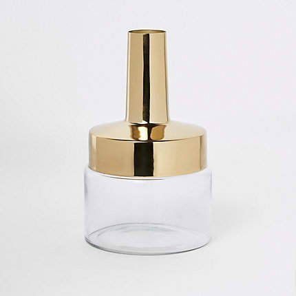 River Island Gold top glass vase