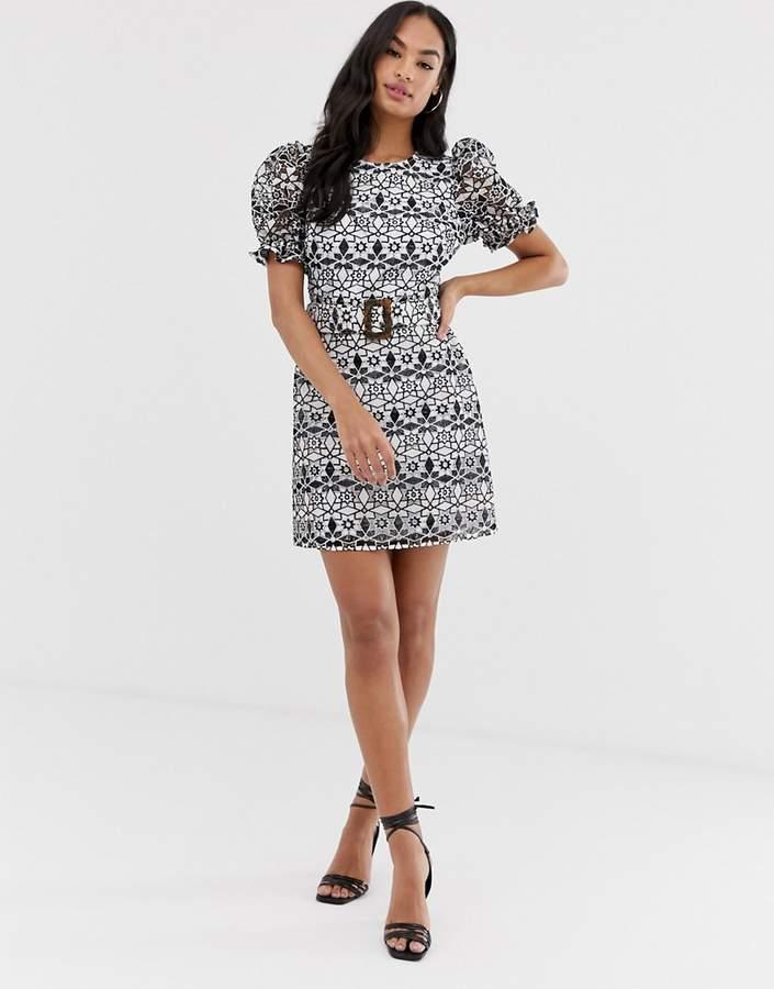Asos Design ASOS DESIGN premium contrast lace mini dress with buckle belt-Multi