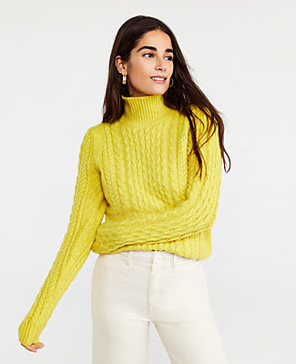 Ann Taylor yellow cable knit turtleneck