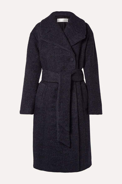 Victoria, Victoria Beckham - Oversized Belted Wool-blend Boucle Coat - Midnight blue