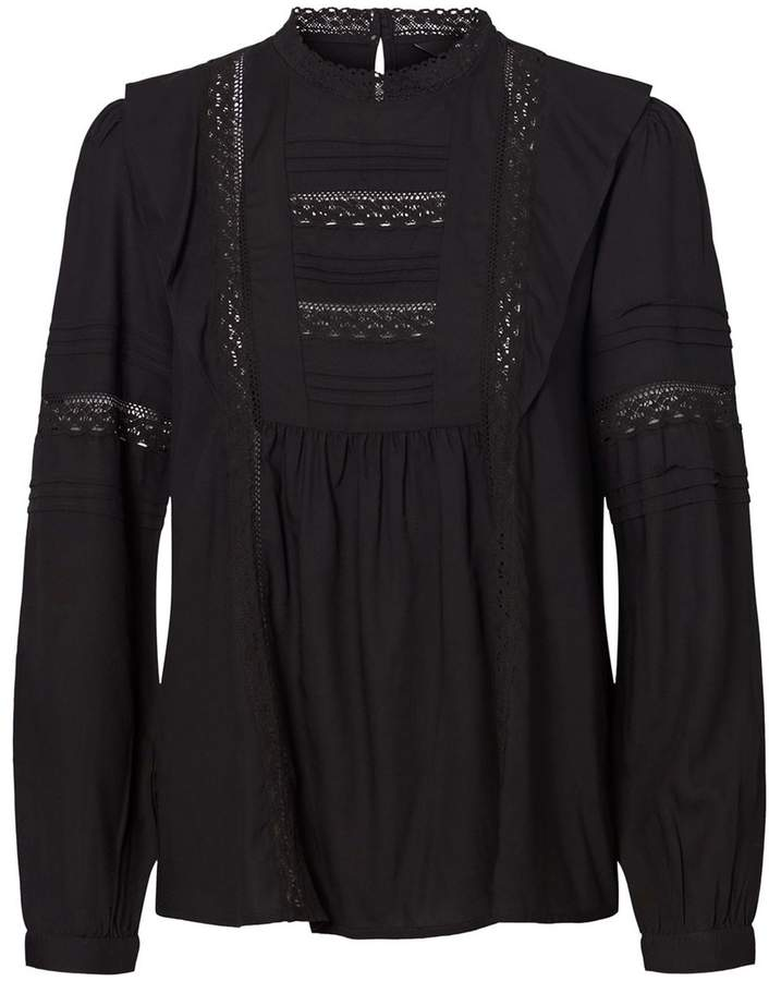 Vero Moda High Neck Ruffled Blouse with Embroidery