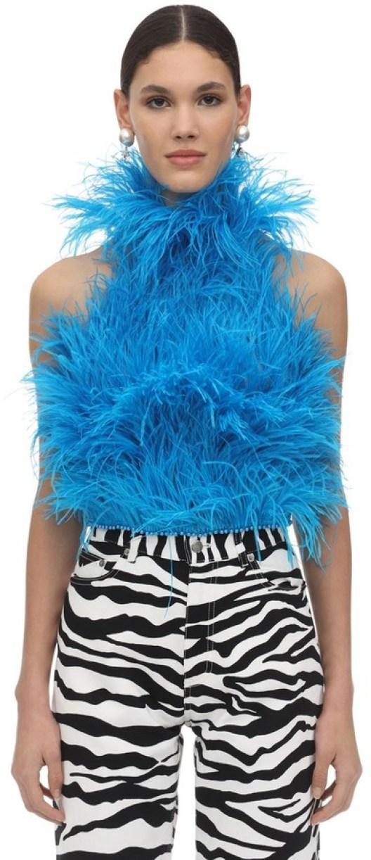 ATTICO High Neck Feather Top - ShopStyle