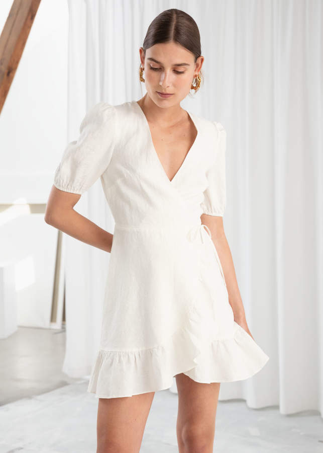 And other stories Puff Sleeve Linen Wrap Mini Dress