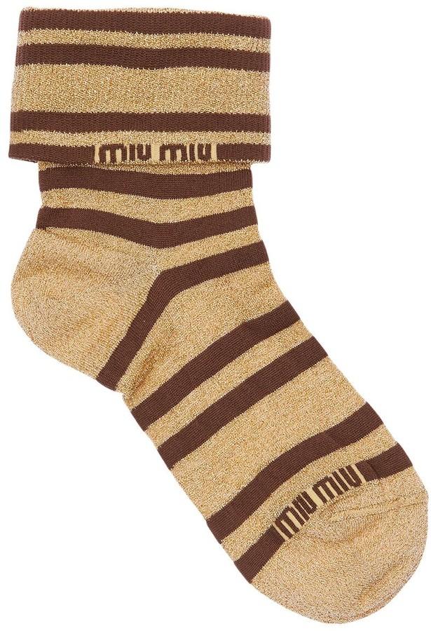 Logo Striped Lurex Socks