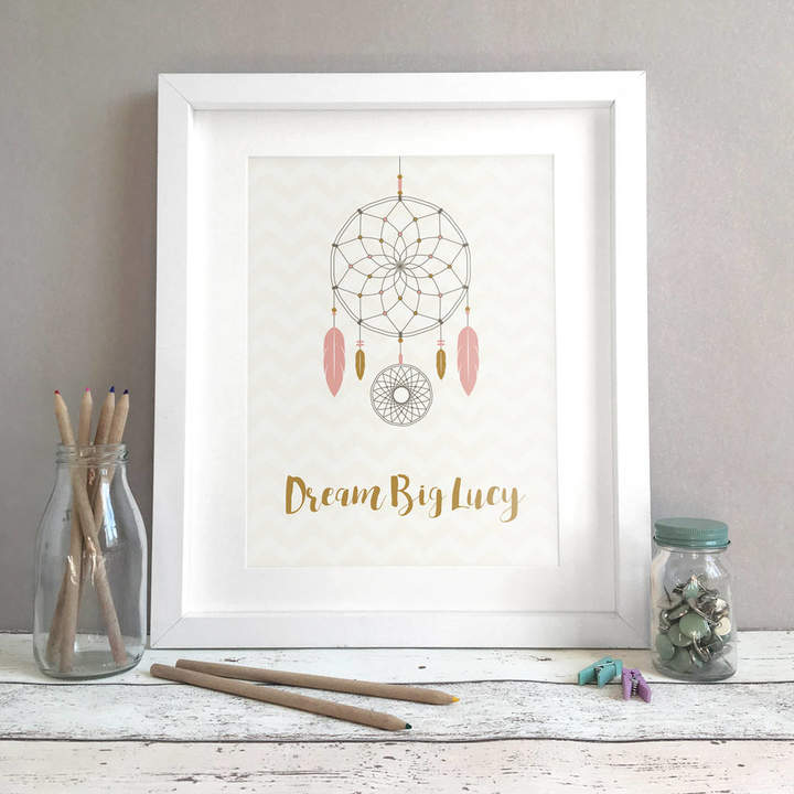Bird & Key Personalised Dreamcatcher Name Print