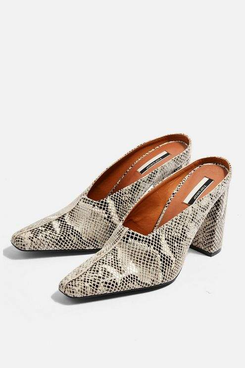 Topshop Womens Geraldine Block Mules - Natural