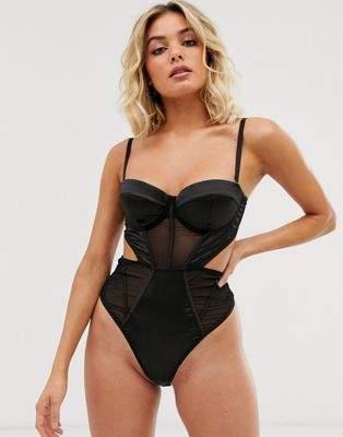 Asos Design ASOS DESIGN Miyu satin underwire thong back bodysuit