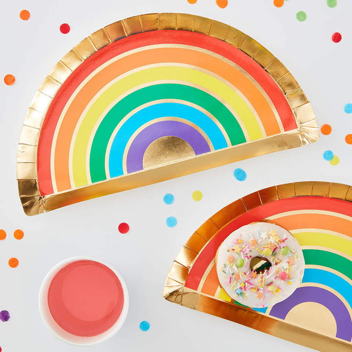 Ginger Ray Gold Foiled Rainbow Shaped Party Paper Plates