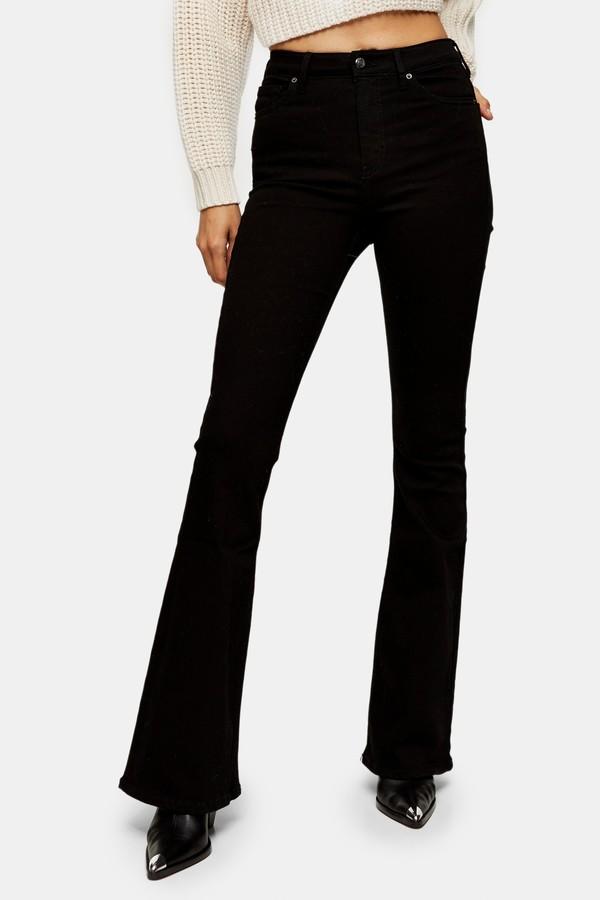Womens Pure Black Jamie Skinny Flared Jeans - Black