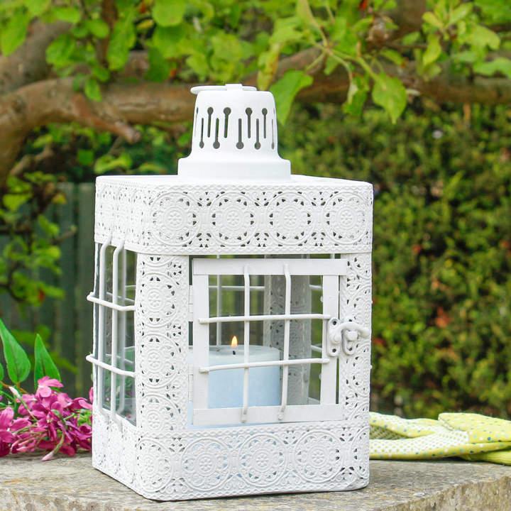 Dibor Ornate Grey Moroccan Candle Lantern
