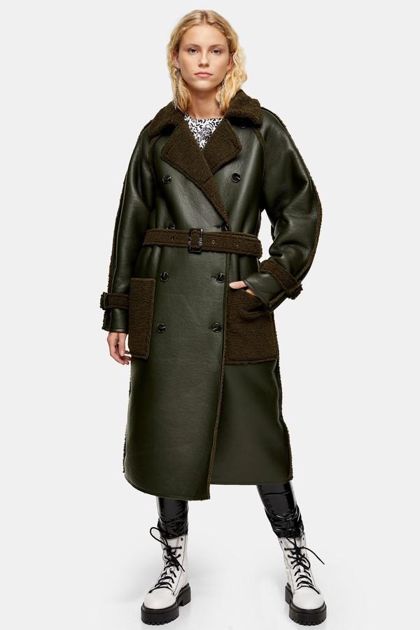 Topshop Womens Idol Reversible Borg Coat - Khaki