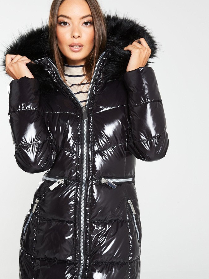 Long High Shine Padded Coat with Faux Fur Trim - Black