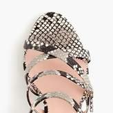 Buckled high-heel sandals in faux snakeskin