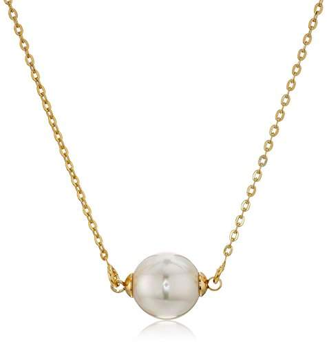 Majorica 10mm Round Pearl On A Gold Plated Steel Chain Necklace