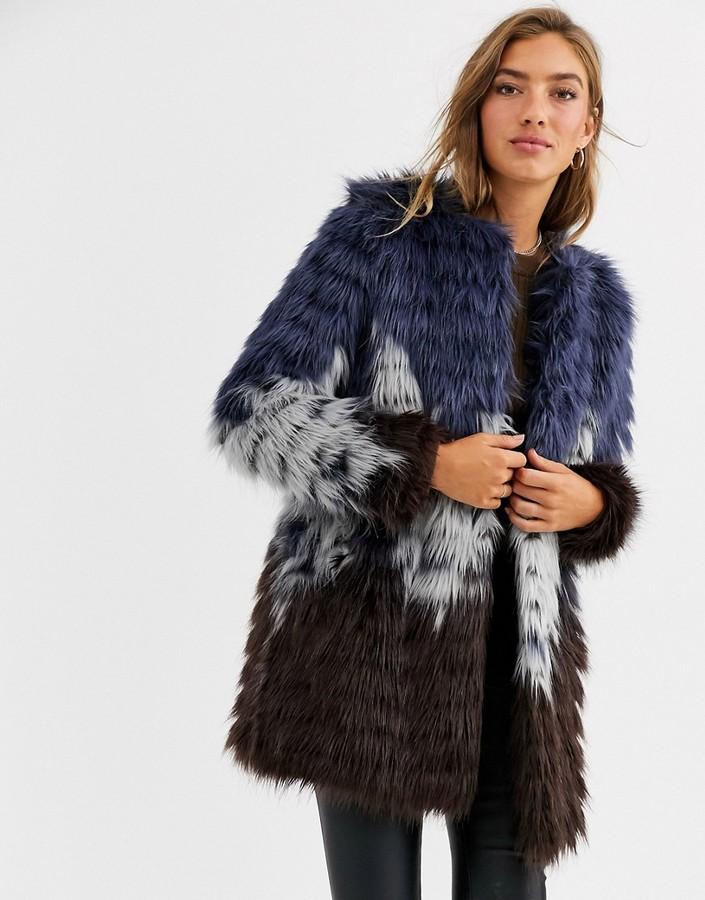 Urbancode faux fur coat in tri colour-Multi