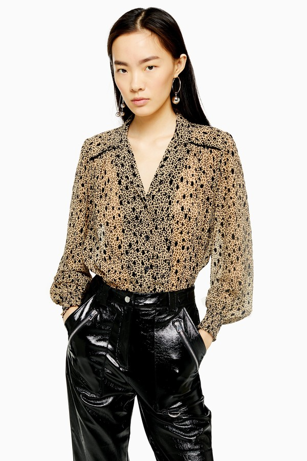 Womens Flocked Animal Print Shirt - Brown