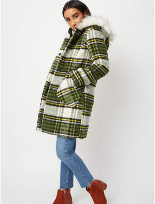 George Green Faux Fur Hooded Brushed Longline Check Coat