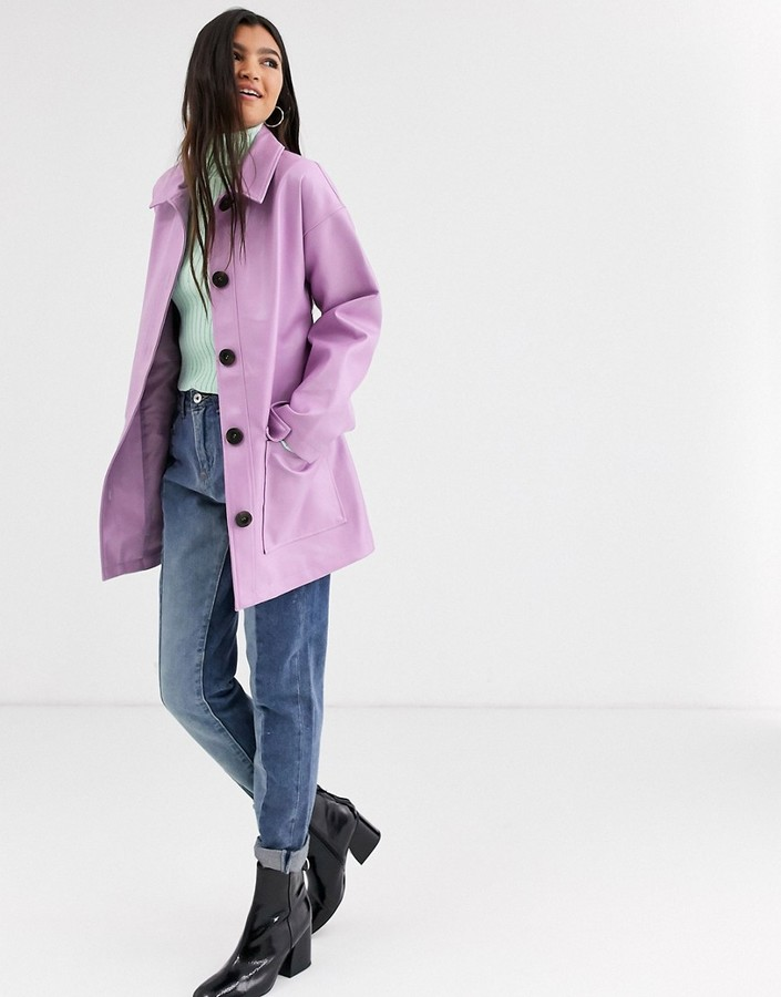 Asos Design ASOS DESIGN button through leather look belted jacket in lilac