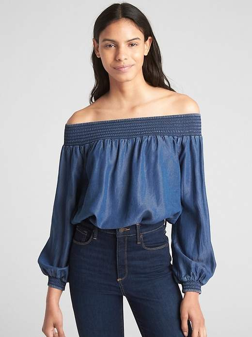 Smocked Off-Shoulder Balloon Sleeve Top in TENCEL