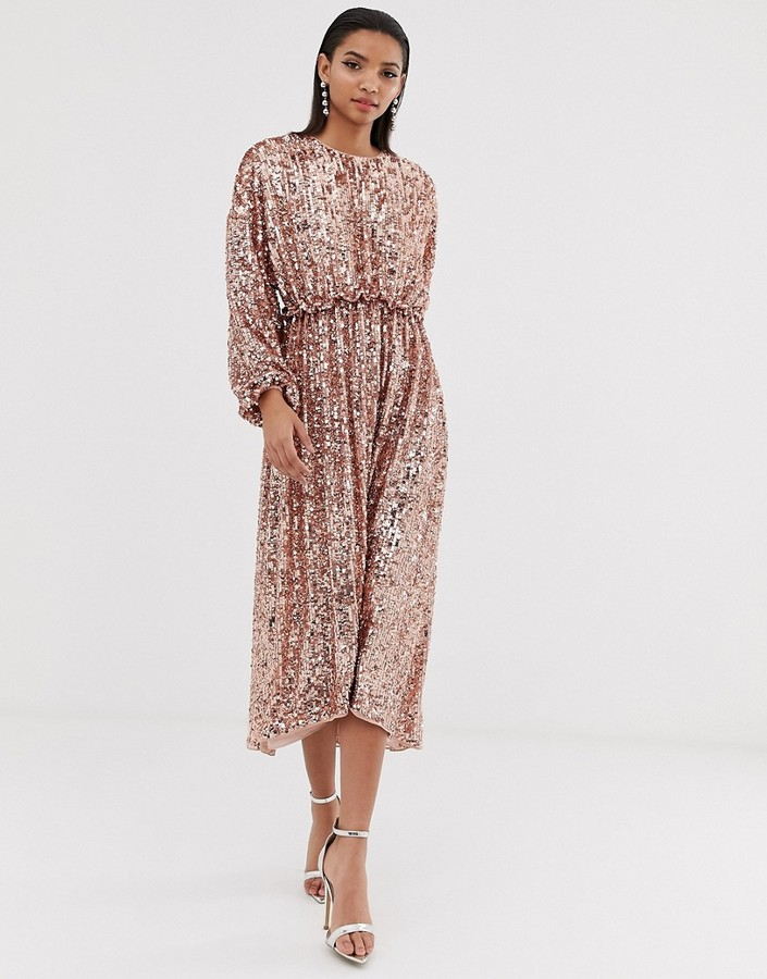 Asos Edition ASOS EDITION open back waisted midi dress in sequin