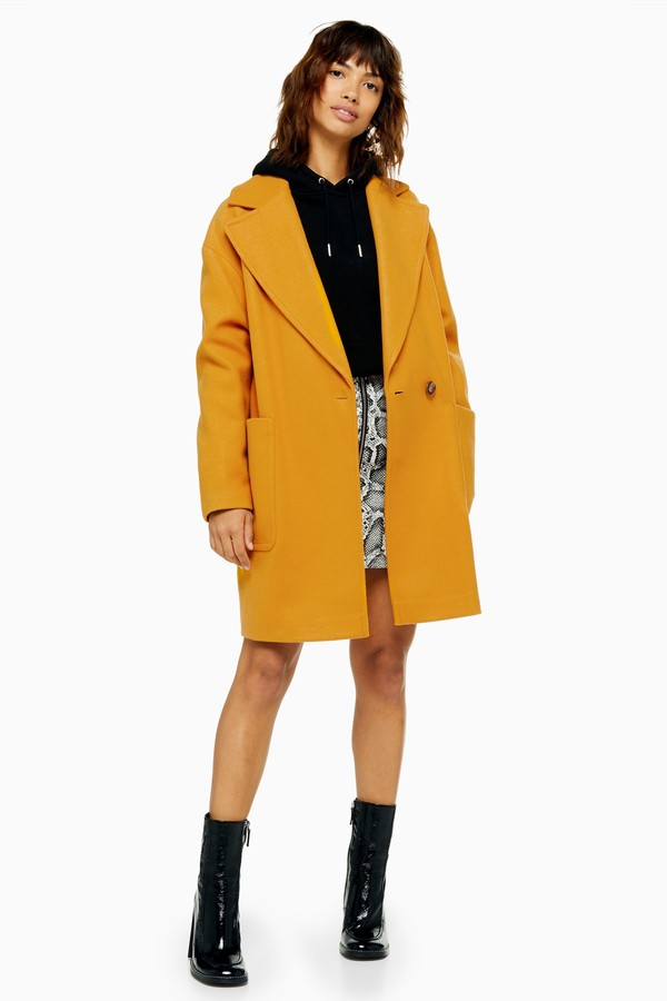 Womens Slouch Coat - Mustard