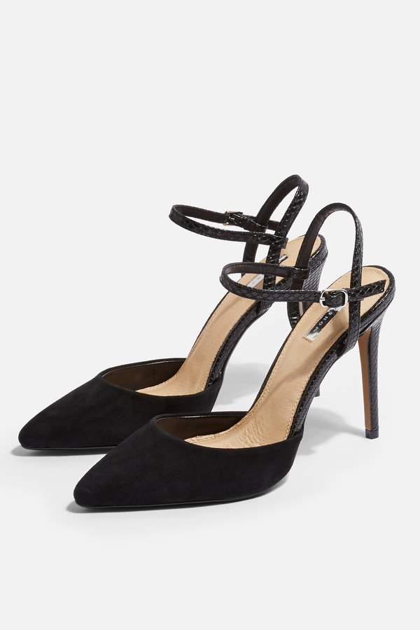 Topshop Womens Genesis Leather Ankle Strap Shoes - Black