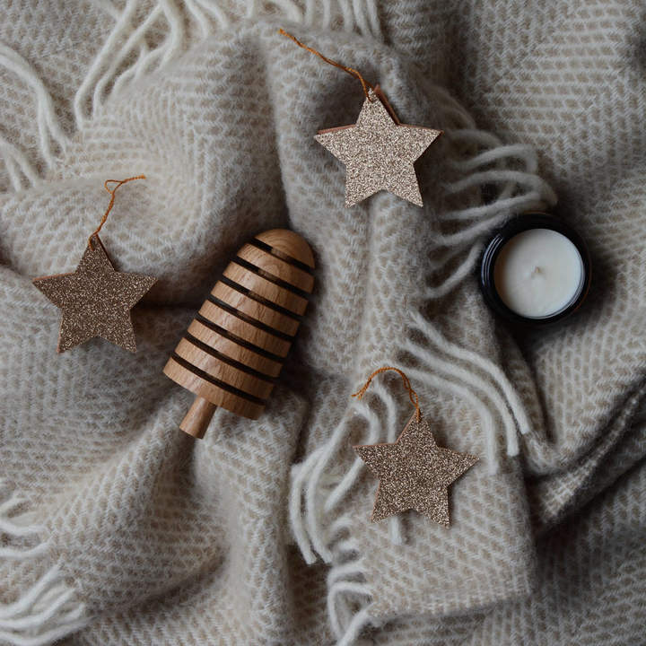 littlenestbox Christmas Tree Star Ornaments Glitter Felt