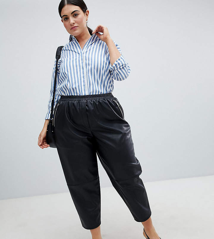 Asos Curve ASOS DESIGN Curve tapered leather look trousers