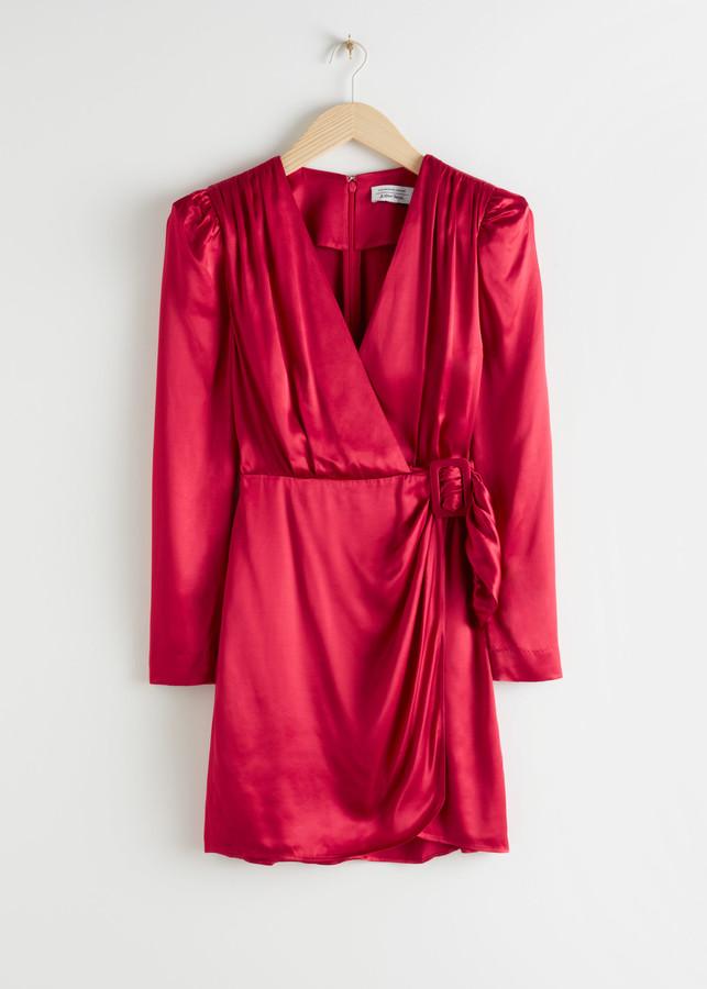 & Other Stories Satin Buckle Tie Mini Wrap Date Night Dress