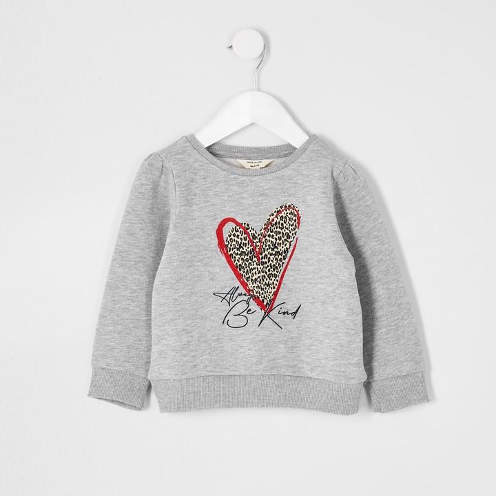 River Island Mini girls leopard heart print sweatshirt