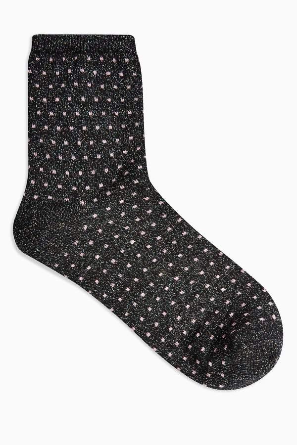 Topshop Womens Dobby Spot Glitter Socks - Black