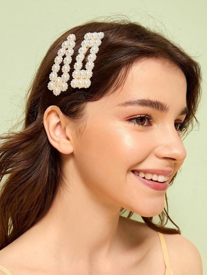 Faux Pearl Design Hair Snap Clip 2pcs