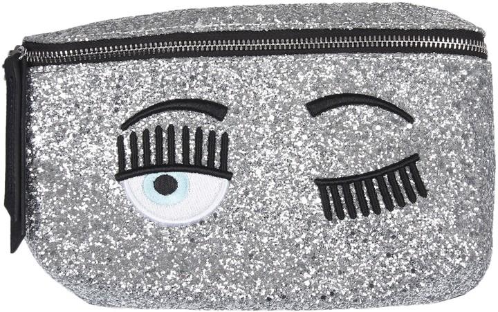 Chiara Ferragni Silver Glitter Waist Bag flirting
