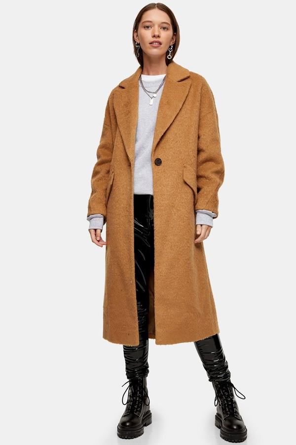 Womens Camel Slouchy Coat - Camel