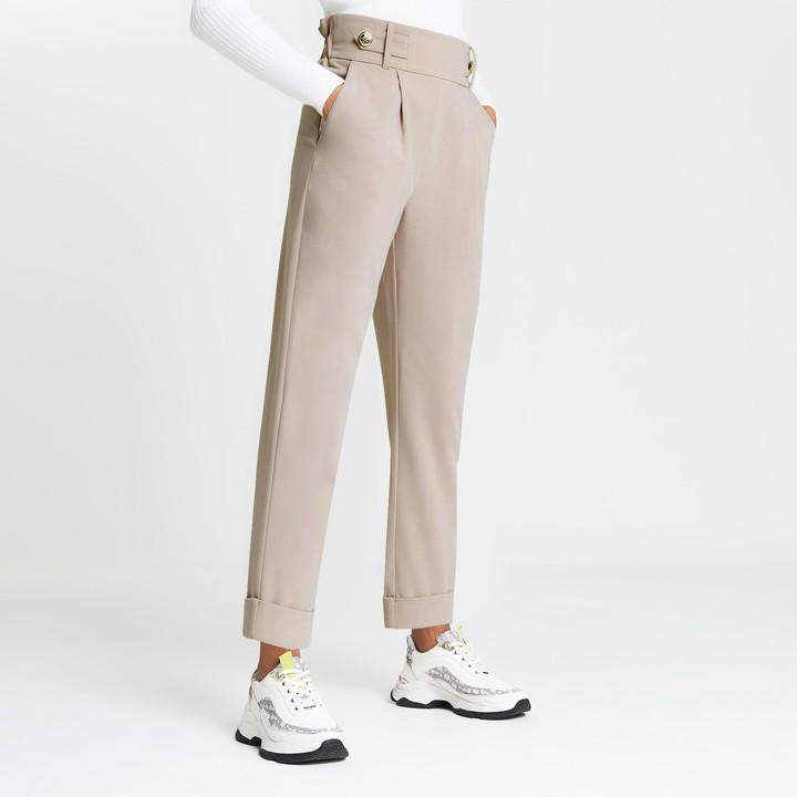 Womens Beige pleated peg leg trousers