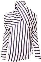 Monse Asymmetric Striped Blouse