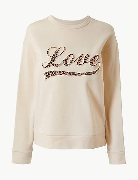 Per Una Pure Cotton Printed Long Sleeve Sweatshirt